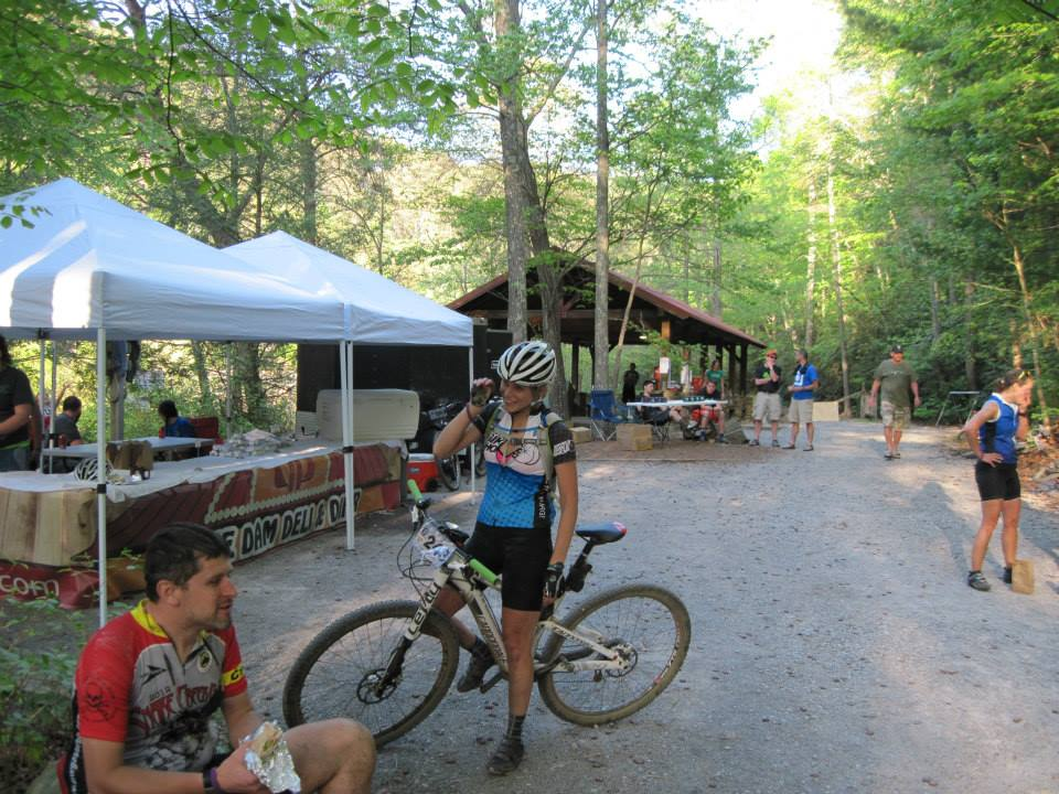 Just after crossing the finish line at Cohutta