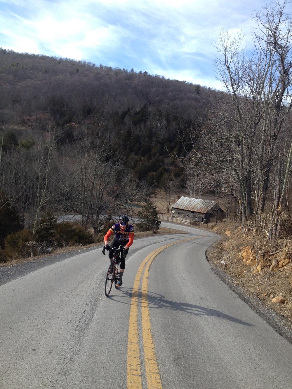 David Taylor pushing it up the climb