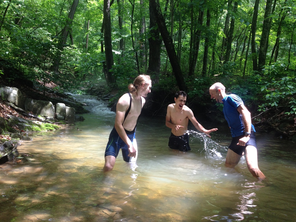 A mandatory stop for a dip in a mountain stream to cool down.