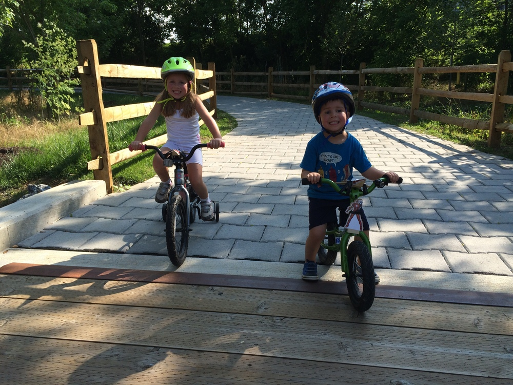 Kids riding the Bluestone Trail in Harrisonburg, VA.