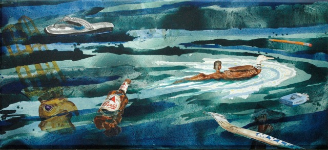 "Da Nile   .  Roger Kizik, 2009.   46"" x 99"", acrylic on canvas"