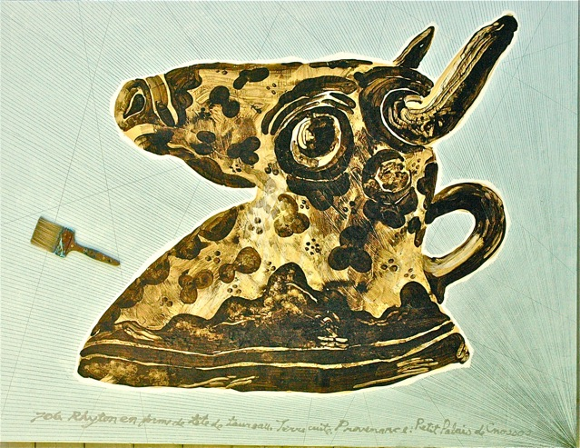 "Bull Rhyton  . Roger Kizik, 2009.   60"" x 72 "", acrylic, pencil, brush"
