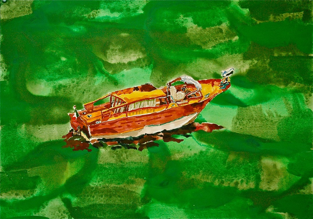 "Taxi V.    Roger Kizik, 2011.   22"" x 30""  watercolor, acrylic, on paper"