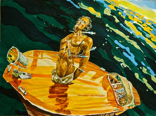 "St. Sebastian in Venezia   .  Roger Kizik, 2011.  22"" x 30"", watercolor, acrylic, on paper paper"