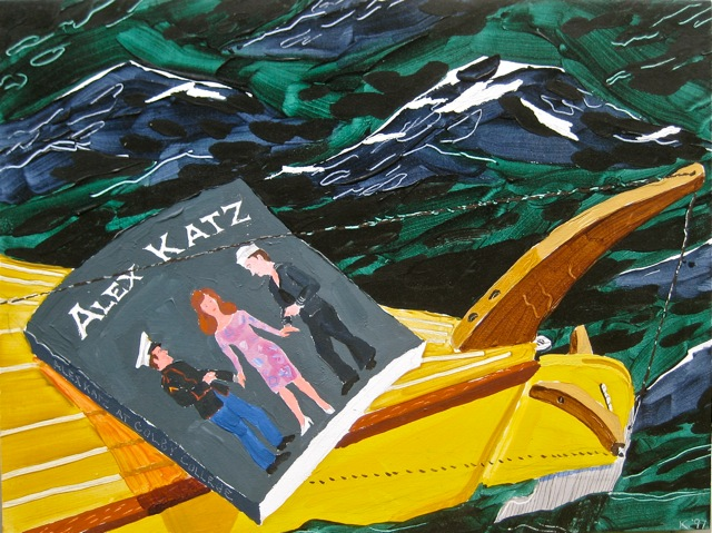 "Katz at Colby   .  Roger Kizik, 1997.   36"" x 48"", acrylic on canvas"