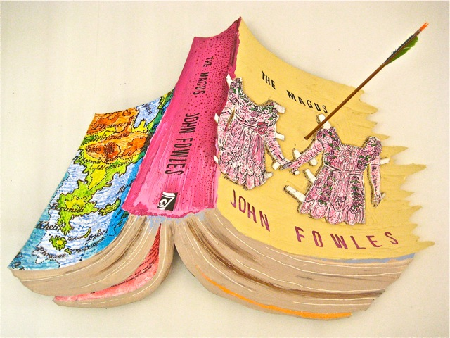"The Magus   .  Roger Kizik, 2011.   33"" x 48"", acrylic, ink, plywood, arrow, on panel"