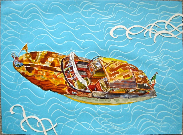 "Taxi IV  . Roger Kizik, 2011.  22"" x 30"", watercolor, acrylic on paper"