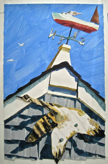 "Vane, Sakonnet Point   .  Roger Kizik, 2011.  42"" x 27"", watercolor, acrylic, on paper  SOLD"