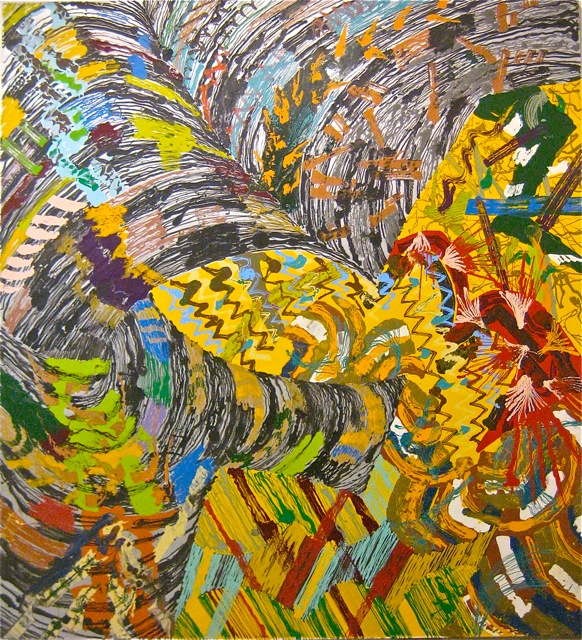 Hooded   . Roger Kizik,  1978.   10 x 9'2 , alkyd on canvas