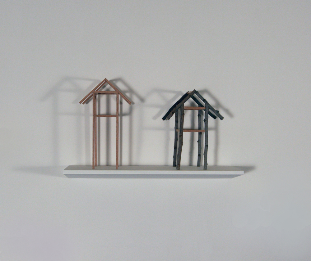 Two Stilt Houses,   Joan Backes  Oak and Sticks