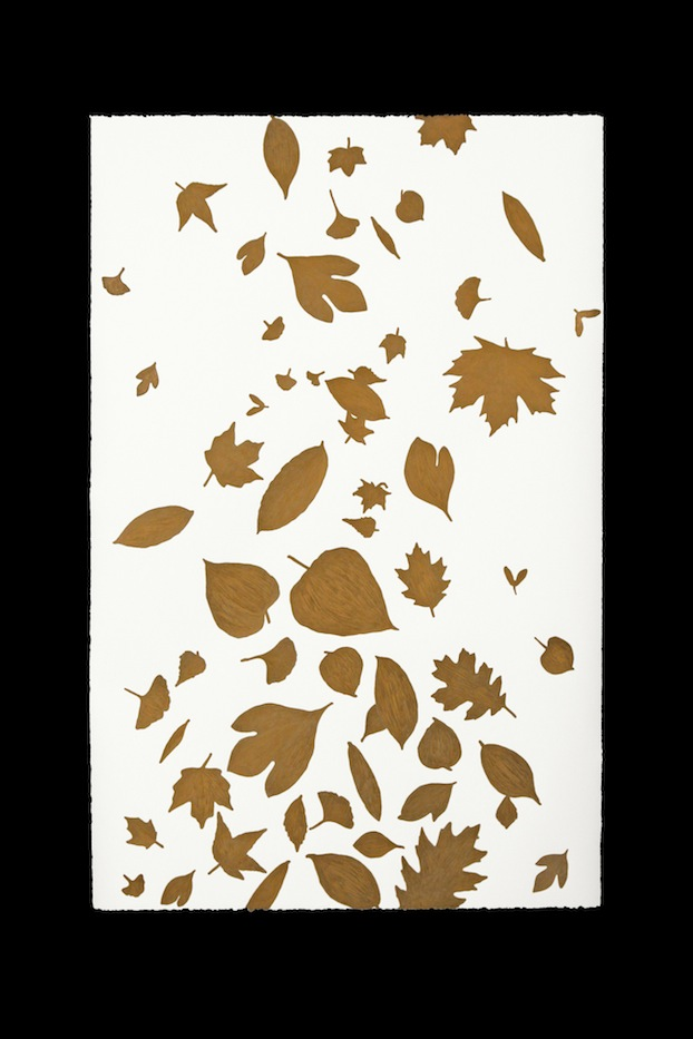 "Gold Falling Leaves,   Joan Backes  56.5"" x 40"", Prismacolor-Stonehenge Paper"