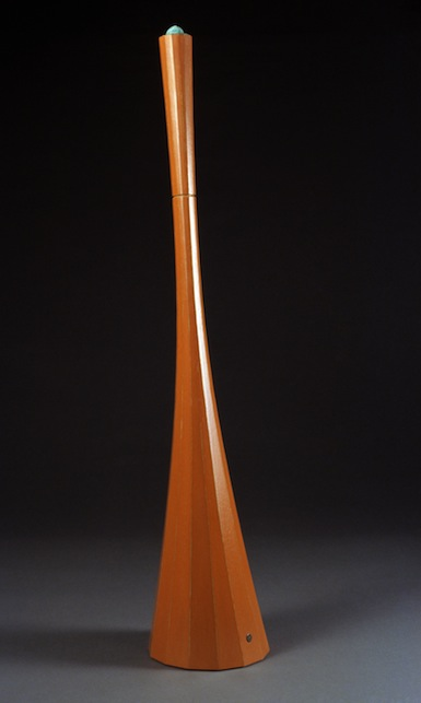 "Chapeau Tauten  Joshua Enck  32.5""x7""x6.5"" staved and coopered quarter-sawn oak, burnished paint, copper, patina 2006"