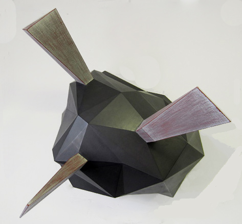 "Galena  Joshua Enck  22""x29""x25"" wood, graphite, paint, and aluminum leaf 2012"