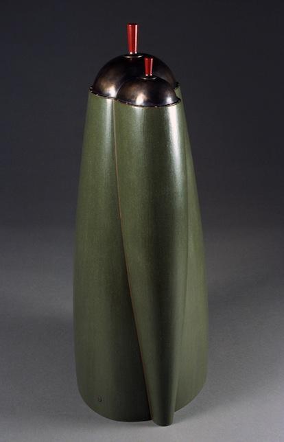 "Swaged Accretion  Joshua Enck  28""x9""x11.5"" staved and coopered quarter-sawn oak, burnished paint, bronze, patina 2006"