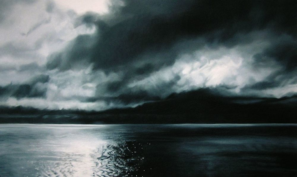 "Greenland #40  , Zaria Forman.  39"" x 66"", soft pastel on paper"