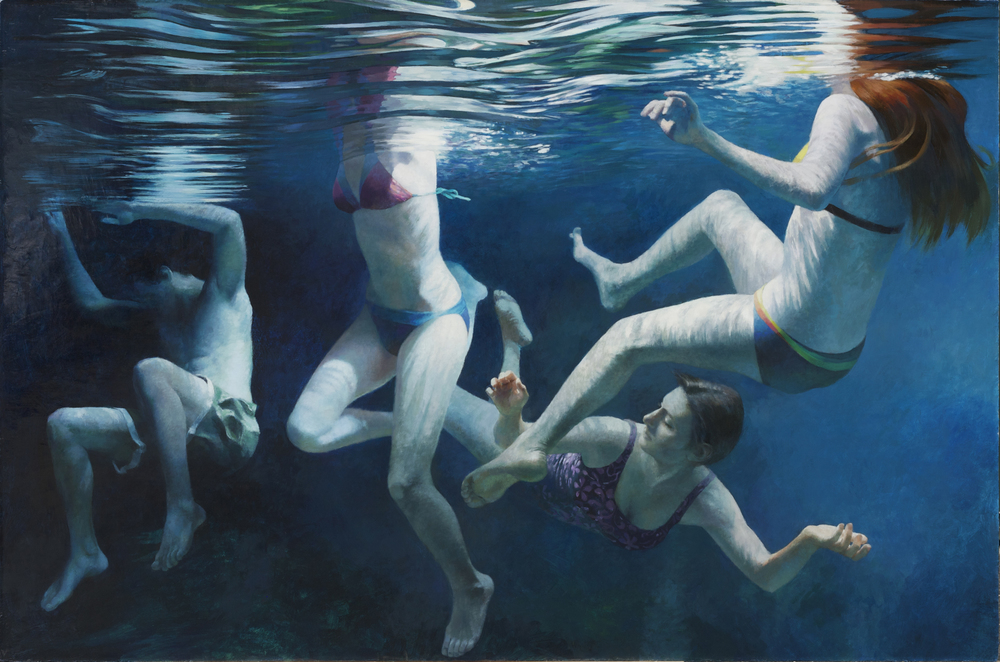 "Cenote Series: Four Swimmers  , Anne Leone, 2011  46"" x 70"", acrylic on linen"