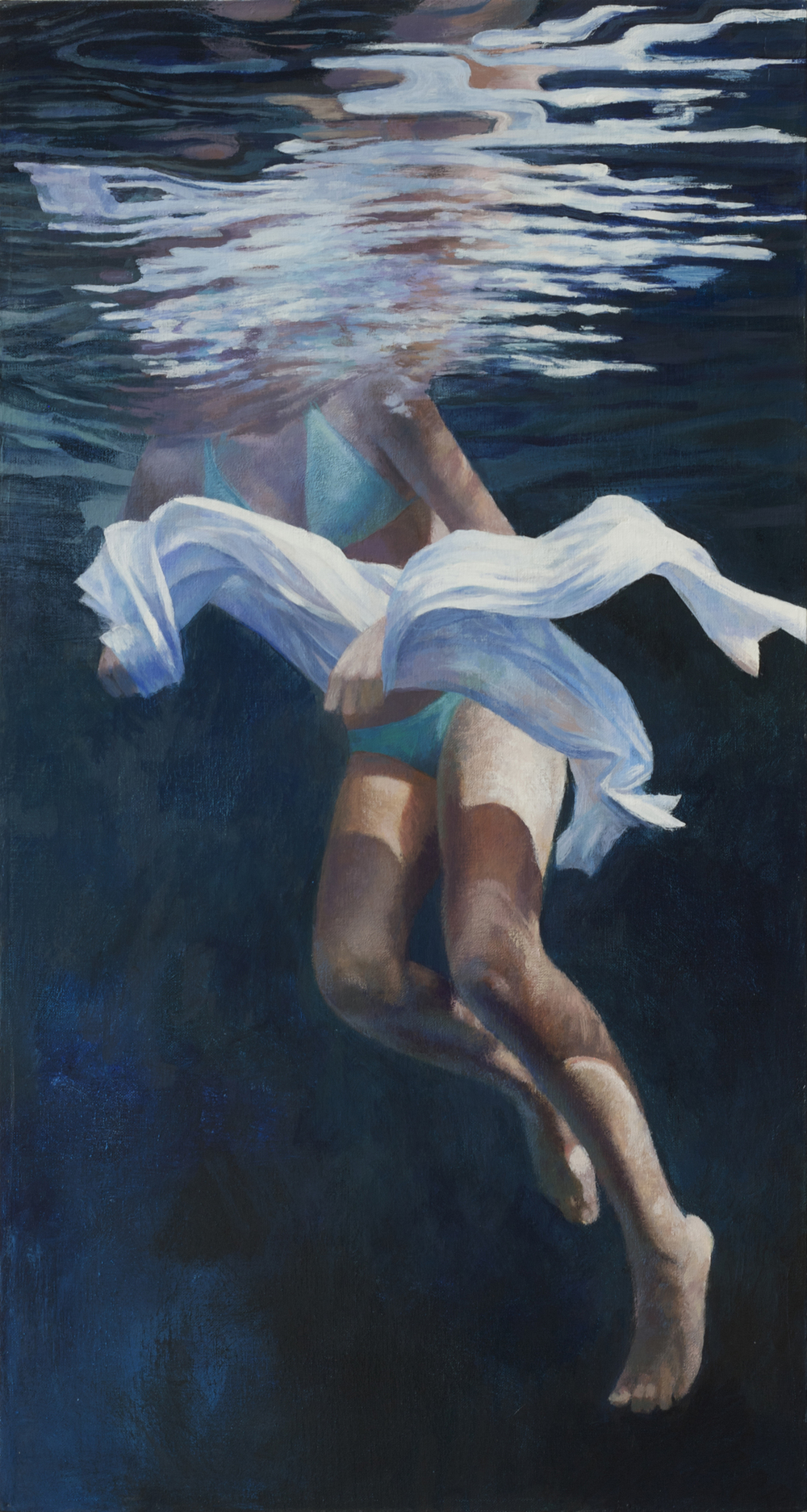 "Cenote Series: Single Swimmer #2  , Anne Leone, 2011  26"" x 14"", acrylic on linen"
