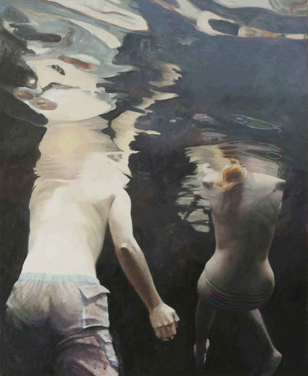 "Cenote Series: Two Swimmers #7  , Anne Leone, 2011  56"" x 46"", acrylic on linen"