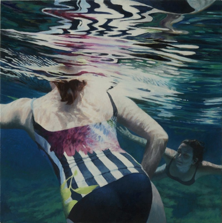 "Cenote Series: Two Swimmers #3  , Anne Leone, 2011  22"" x 22"", acrylic on linen"
