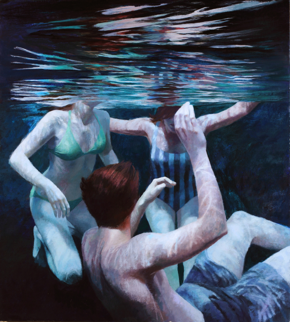 "Cenote Series: Three Swimmers #2  , Anne Leone, 2011  40"" x 36"", acrylic on linen"