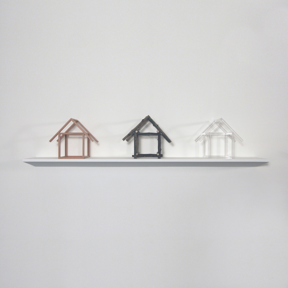"Oak House, Stick House, Plexi Rod House,   Joan Backes, 2012    10"" x 11"" x 9"" oak, stick, plexiglass"