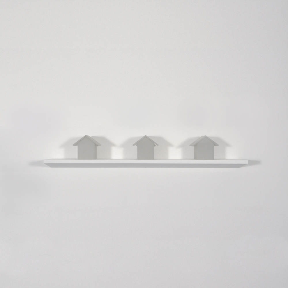 "Three Houses   ,  Joan Backes, 2012.    4.6"" x 4"" x4"", sand-blasted plexiglas"