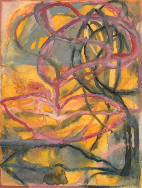 """Compelled to Speak  , Pat Coomey Thornton.  14.5"""" x 11.5"""", gouache on Fabriano paper."""