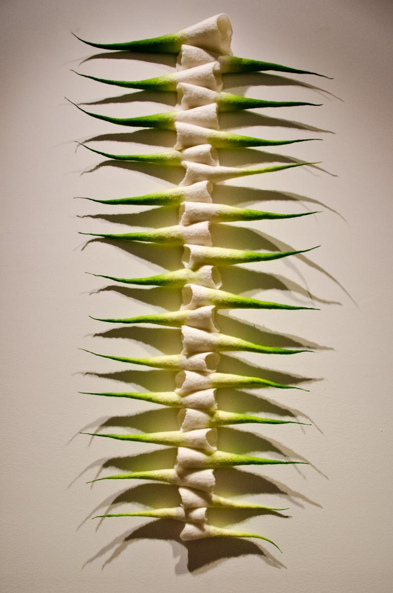 "Backbone  , Anna Kristina Goransson, 2012.  20"" x 36"" x 2"", wool, acid dye"