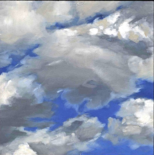 "Cloud  , Nancy Train Smith, 2012  4""x4"" oil on canvas  Sold"