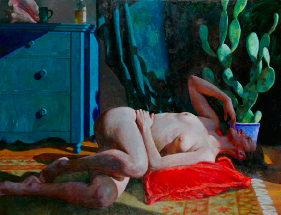 "Woman and Shell  , Daniel Ludwig  50"" x 60"" oil on linen"