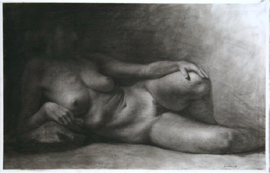 "Dark Odalisque  , Daniel Ludwig  26"" x 40"", charcoal on paper"
