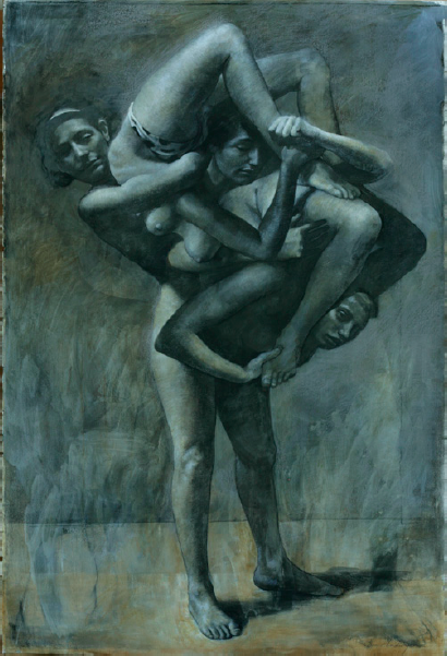 "Three Acrobats  , Daniel Ludwig  60"" x 40"", mixed media"