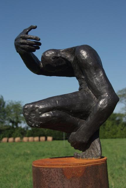 """Gnostic 2,   Walter Horak,2011    64"""" x 20"""" x 20"""", bronze"""