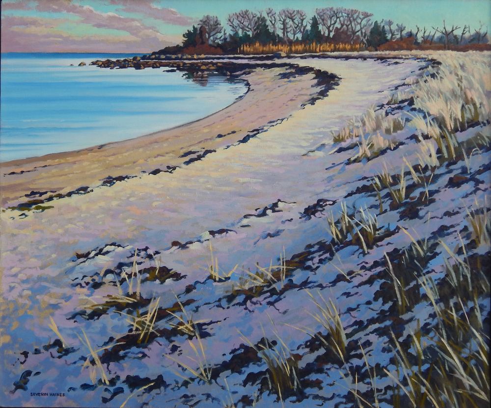 "Cove at West Island in January, Severin Haines.  30""x36"", oil on canvas."