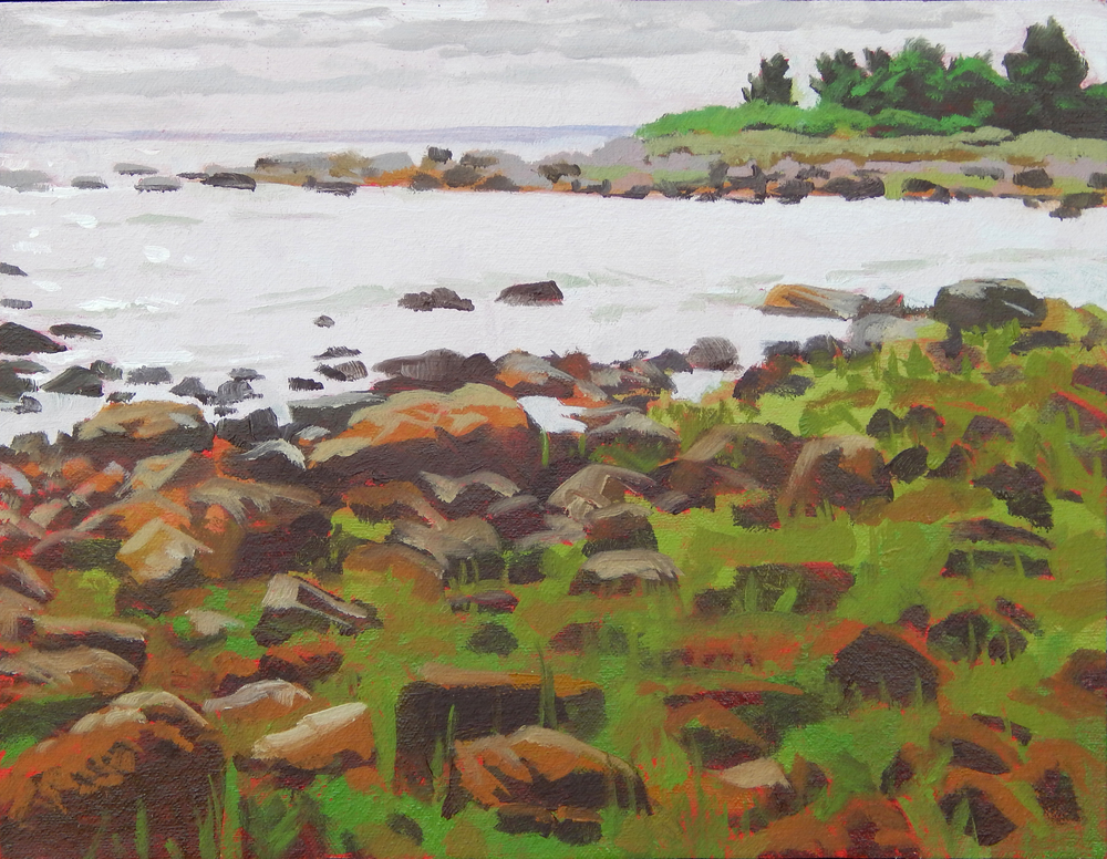 "Gray Day on West Island !,   Severin Haines.   9""x12"", oil on canvas."