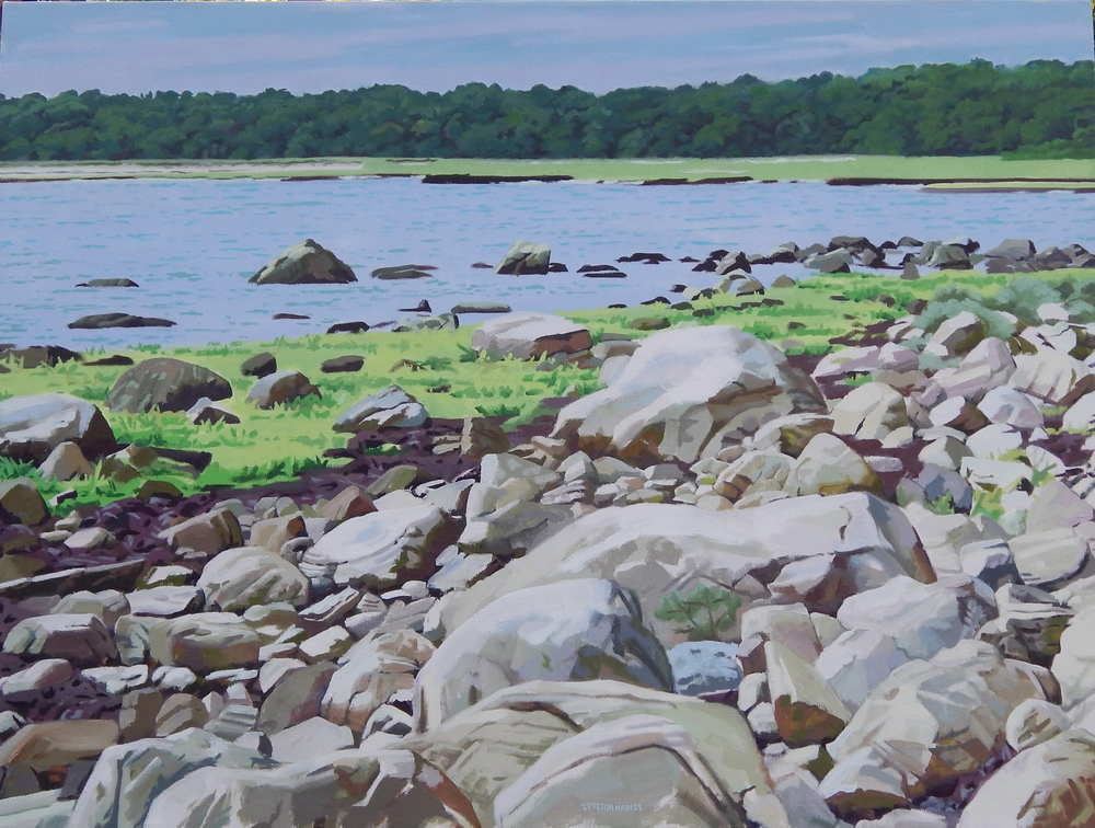 "Rocks, Grass and Trees Across the Water II,   Severin Haines.  36""x48"", oil on canvas"