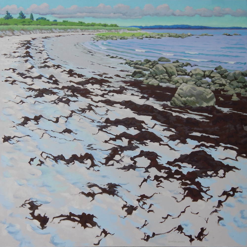 "Sand and Seaweed II,   Severin Haines.   48""x48"", oil on canvas"