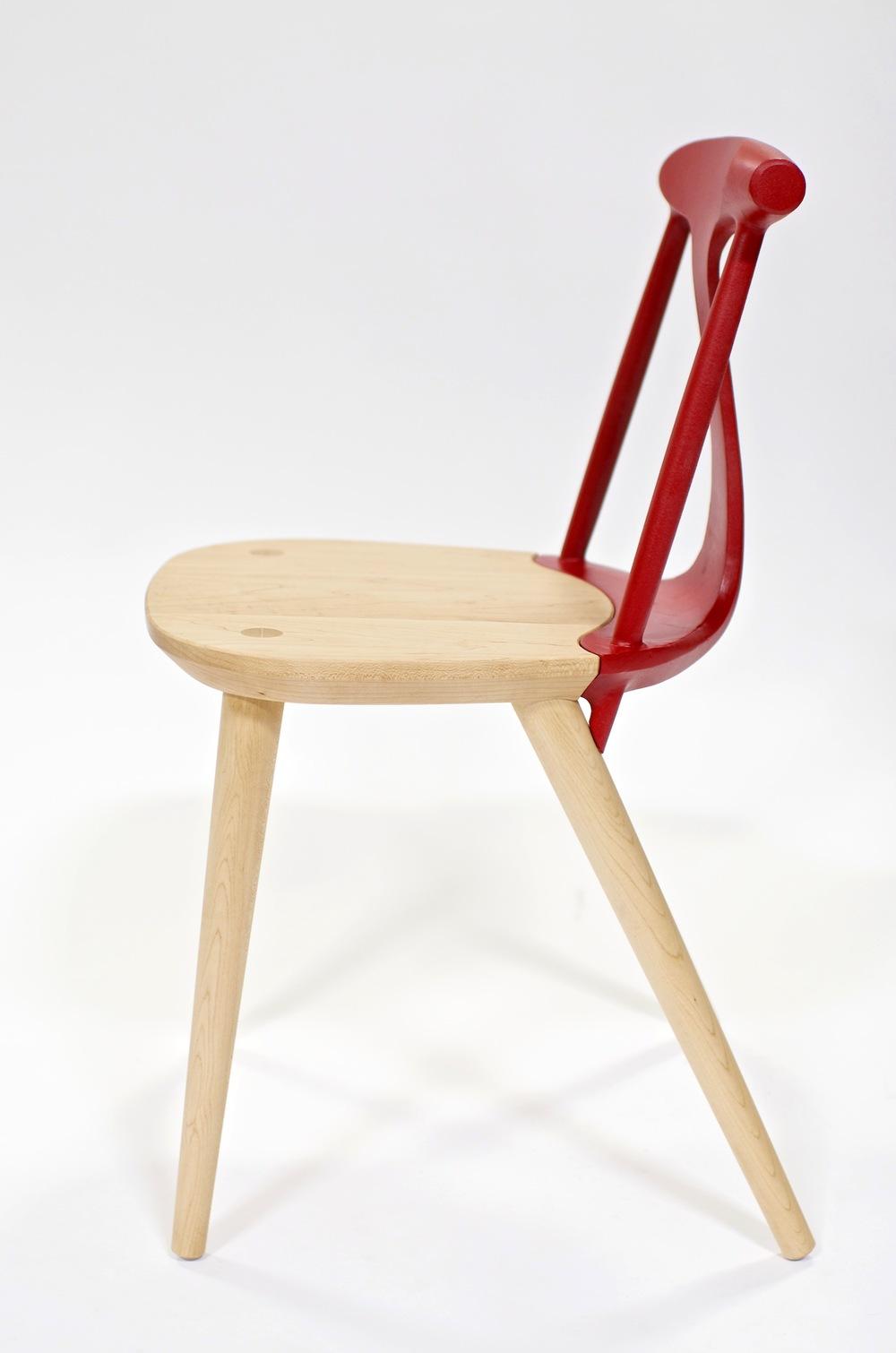 "Corliss Chair   DUNN  Maple and Cast Aluminum, 32""x17.5""x18.5"""