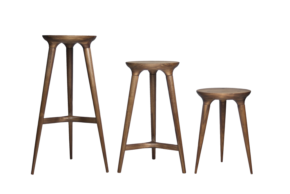 "Kingstown Barstool, Kingstown Counterstool, Coventry Stool   DUNN  Walnut, Cherry, or Ash, 30""x 19""x19"", 24""x19""x19"", 18""x13""x13"""