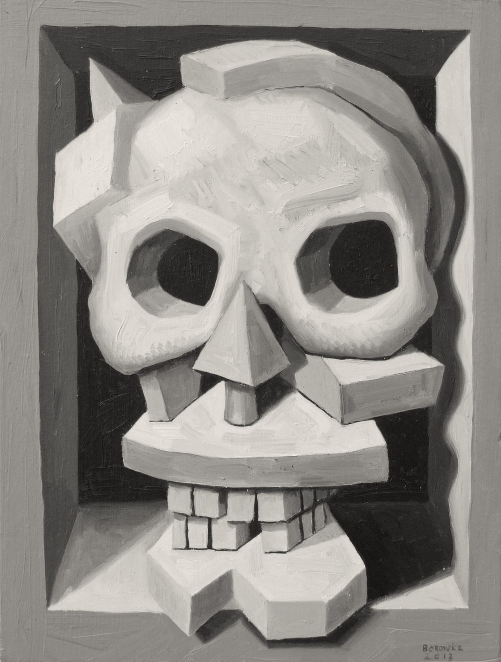 "Skull 2   John Borowicz   oil on panel, 9""x7"" 2013"
