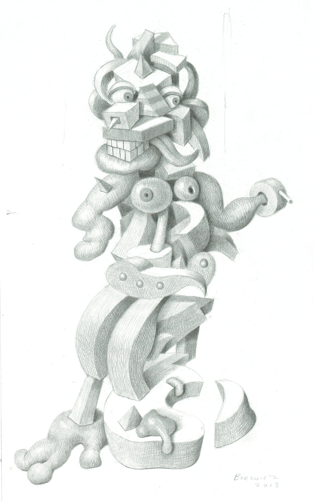 "Study for Fast Talking Fanny   John Borowicz    graphite on paper, 10""x6.25"" 2013"