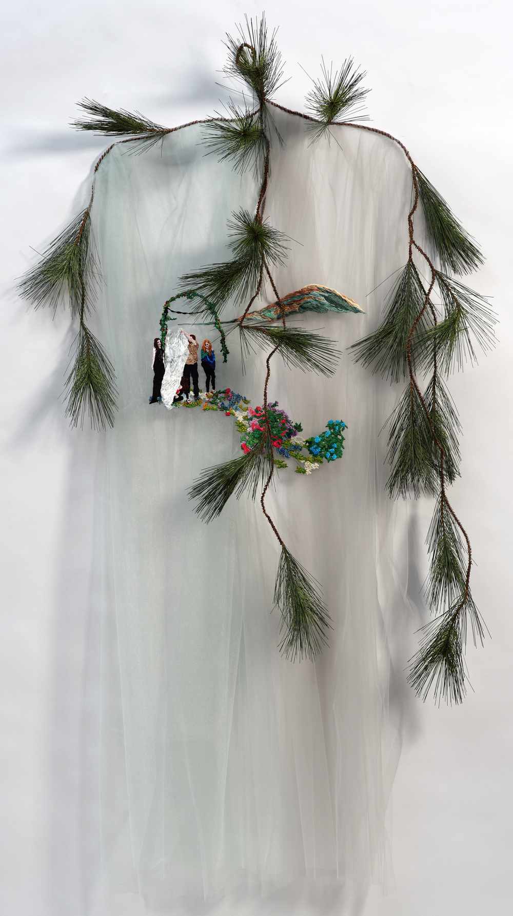 "Our Path     Sophia Narrett, 2011    66""x42""x9"" Embroidery thread, tulle, evergreen branch"