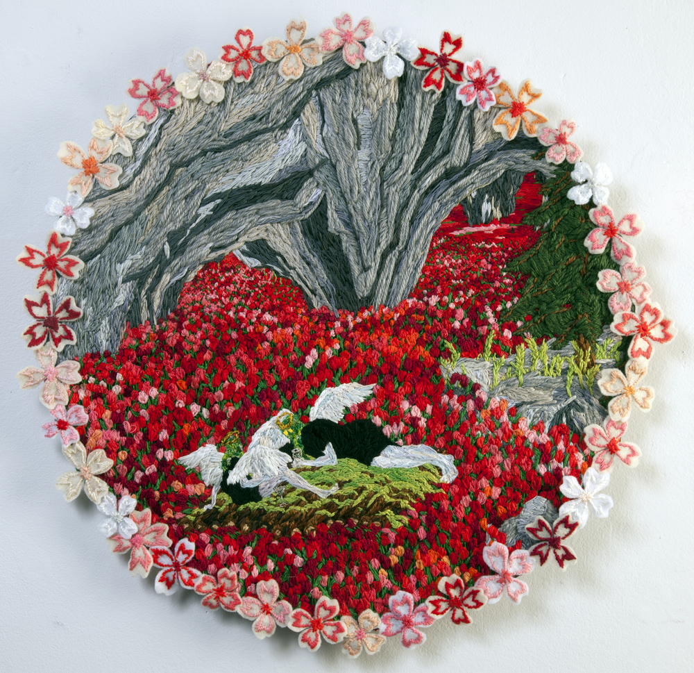 "Raft in the Tunnel of Tulips     Sophia Narret, 2010    19""x19,"" embroidery thread and fabric"