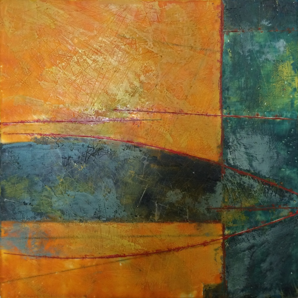 "Blue and Orange     Eck Follen, 2014    18""x 18,"" Encaustic on panel    SOLD"
