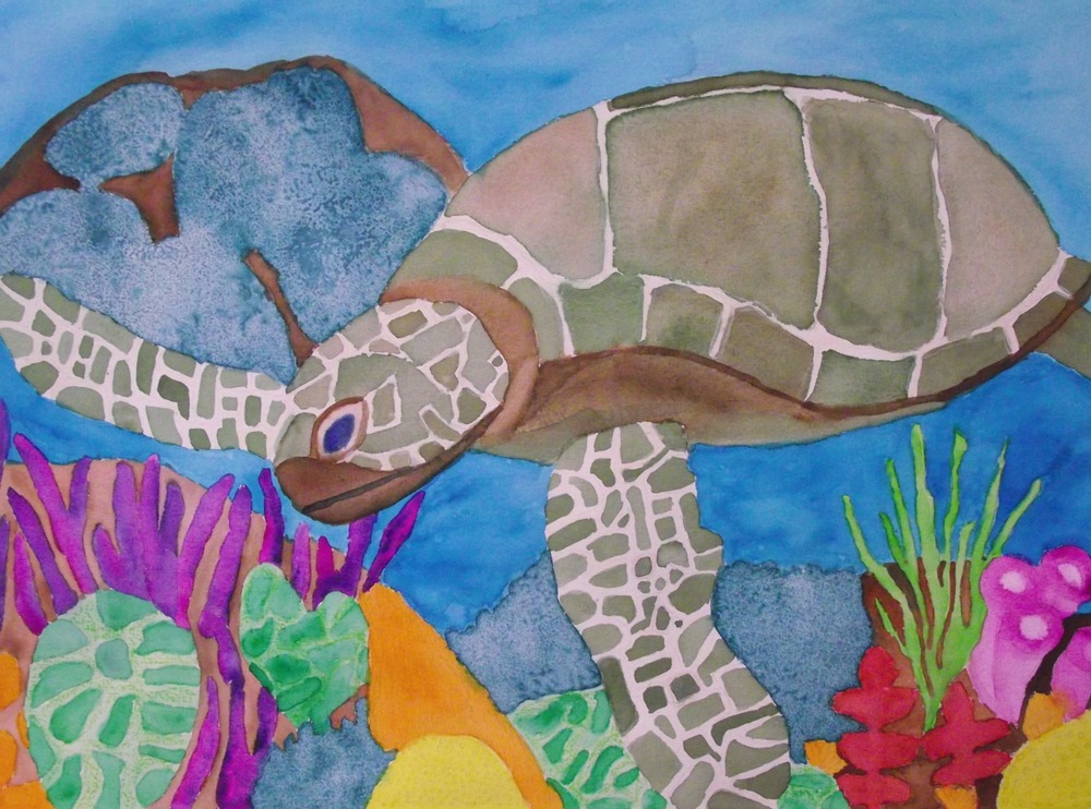 Sea Life  by Arianna, student of Our Sisters' School, watercolor