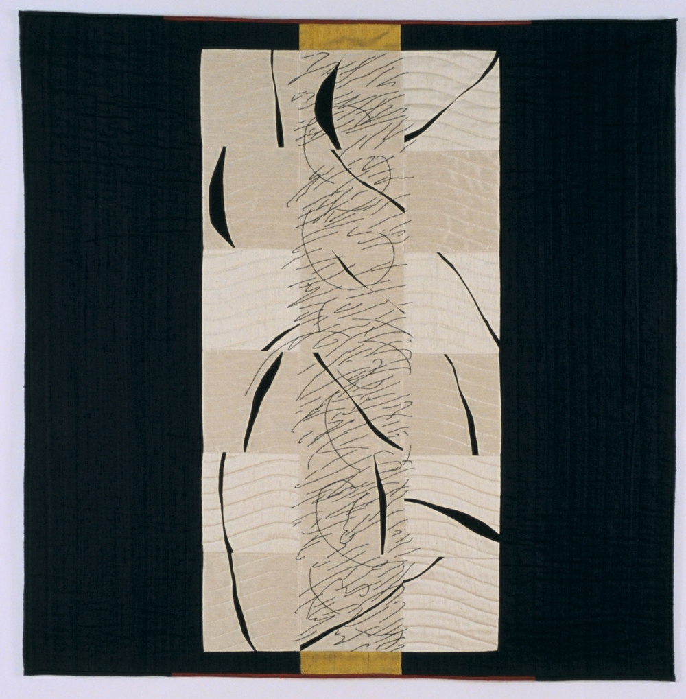 "Compositions in Marking and Movement     Daphne Taylor, 2004    36""x 36,"" Silk, cotton fabrics, cotton embroidery thread. Machine pieced, hand embroidered, hand quilted."