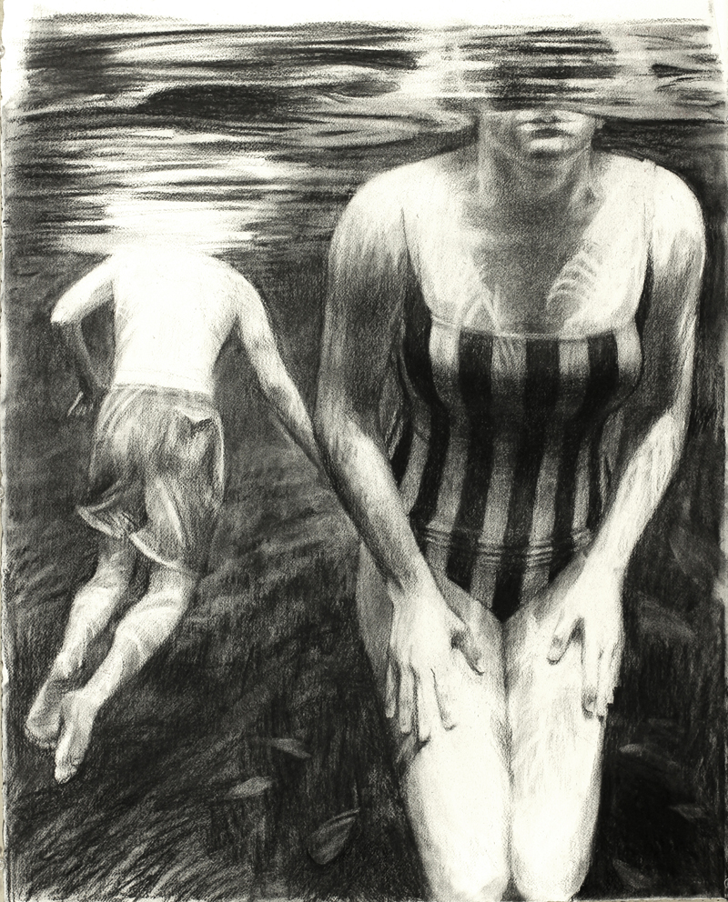 "Two Swimmers #2, 2012, 32 x 25""  Charcoal on paper"