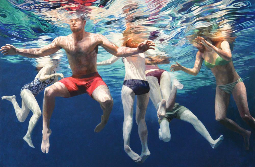 """Cenote Azul #1, 2014,  40 x 60""""    Acrylic on linen"""