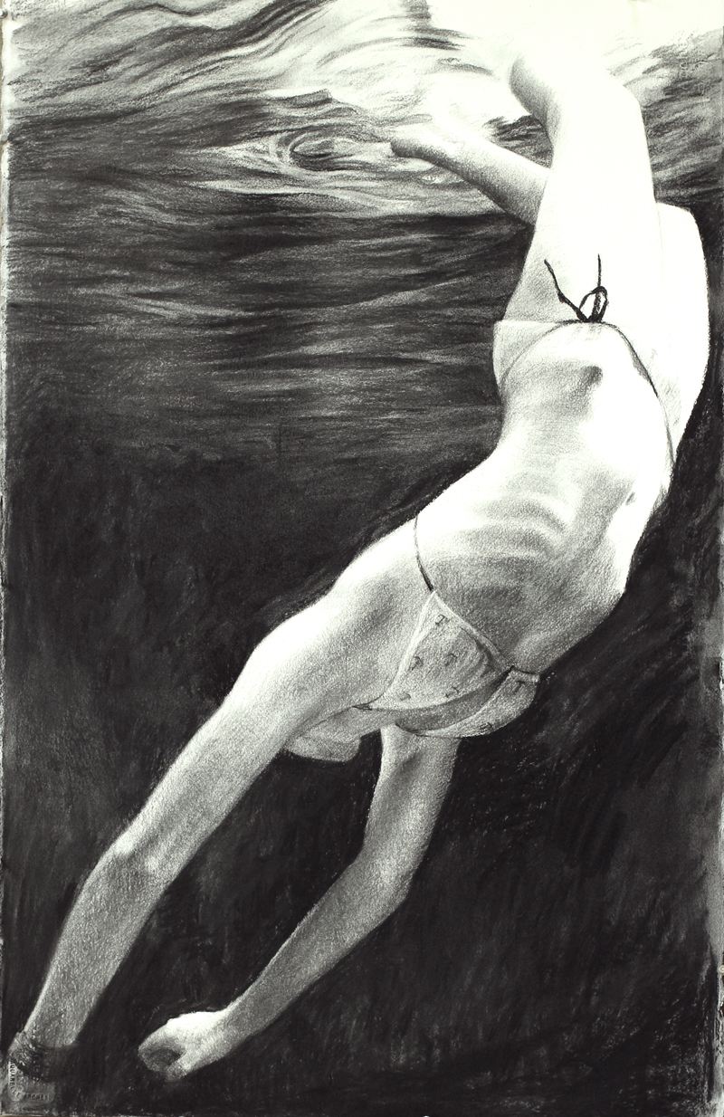 "Diving, 2012, 40 x 60"", charcoal on paper"
