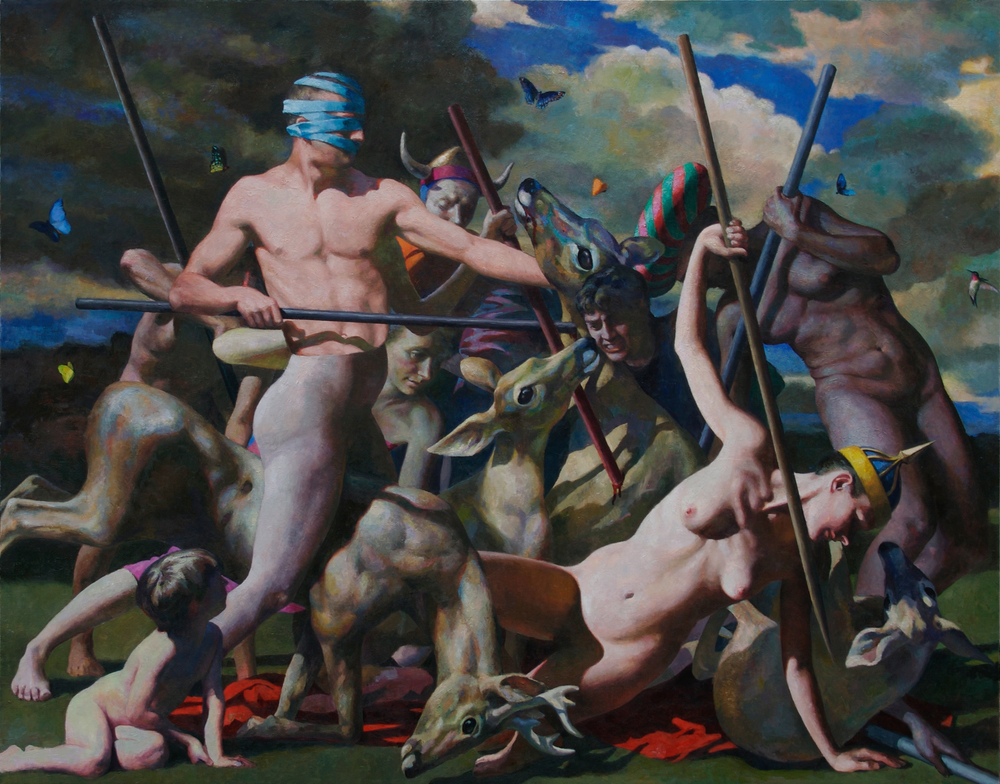 "Deer Hunt,  70 x 90""    Oil on linen"